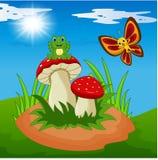 Historieta linda de la rana y de la mariposa con la seta libre illustration