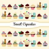 Historieta linda de la torta de cumpleaños stock de ilustración