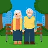 Historieta linda de los pares de los abuelos Fotografía de archivo libre de regalías