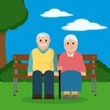 Historieta linda de los pares de los abuelos Fotografía de archivo