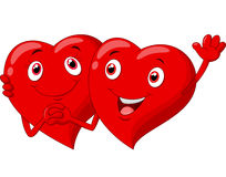 Historieta linda de los pares de los corazones de la tarjeta del día de San Valentín Fotos de archivo