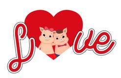 Historieta linda del cochinillo de la tarjeta del día de San Valentín Amor grande de las letras ilustración del vector