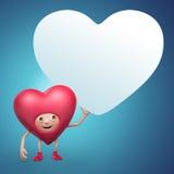 Historieta linda del corazón de la tarjeta del día de San Valentín que sostiene la bandera Imagen de archivo libre de regalías