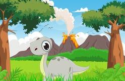 Historieta linda del dinosaurio con el fondo prehistórico ilustración del vector