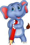 Historieta linda del elefante que sostiene el lápiz rojo Foto de archivo libre de regalías