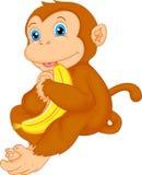 Historieta linda del mono con el plátano Imagen de archivo libre de regalías