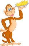 Historieta linda del mono con el plátano Imágenes de archivo libres de regalías