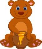 Historieta linda del oso con la miel Foto de archivo libre de regalías