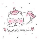 Historieta linda del potro del vector del unicornio, decoración del cuarto de niños, hora durmiente mágica para el sueño dulce, e stock de ilustración