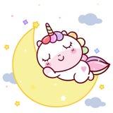 Historieta linda en la luna, hora durmiente mágica del potro del vector del unicornio para el color en colores pastel ideal dulce stock de ilustración
