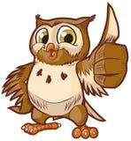 Historieta linda Owl Mascot Giving Thumbs Up del vector Fotografía de archivo libre de regalías