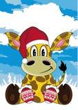 Historieta linda Santa Hat Giraffe ilustración del vector