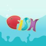 Historieta Logo Symbol Font Vector de los pescados Fotografía de archivo