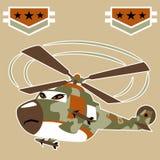 Historieta militar del helicóptero con el misil libre illustration