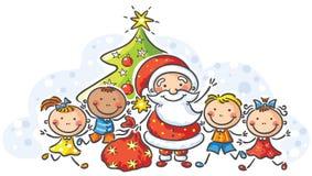 Historieta Papá Noel con los niños ilustración del vector