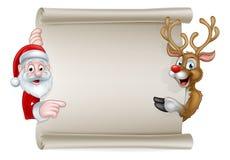 Historieta Papá Noel y voluta del reno de la Navidad Fotos de archivo