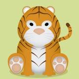 Historieta pequeño Tiger Sitting Isolated lindo del vector Imagenes de archivo