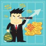 Historieta plana de acción del inversor lindo del mercado Imagen de archivo