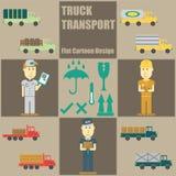 Historieta plana de la gente del transporte del camión Imagen de archivo libre de regalías