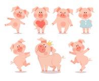 Historieta pocos cochinillos del baile El año del cerdo Nuevo chino ilustración del vector
