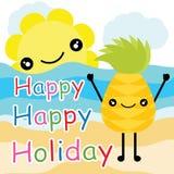 Historieta, postal del verano, papel pintado, y tarjeta de felicitación, diseño de la camiseta para los niños Foto de archivo