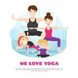 Historieta practicante Poter de la yoga de la familia stock de ilustración