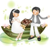 Historieta preciosa Charactors para el día de la Navidad y de tarjeta del día de San Valentín libre illustration