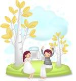 Historieta preciosa Charactors para el día de la Navidad y de tarjeta del día de San Valentín ilustración del vector