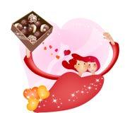 Historieta preciosa Charactors para el día de la Navidad y de tarjeta del día de San Valentín stock de ilustración