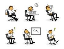 Historieta preocupante, frustrada, subrayada del hombre de negocios stock de ilustración