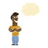 historieta que hace muecas al hombre con la burbuja del pensamiento Imágenes de archivo libres de regalías