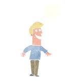 historieta que hace muecas al hombre con la burbuja del pensamiento Foto de archivo