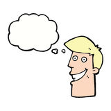 historieta que hace muecas al hombre con la burbuja del pensamiento Imagen de archivo