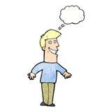 historieta que hace muecas al hombre con la burbuja del pensamiento Imagen de archivo libre de regalías