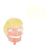 historieta que hace muecas al hombre con la burbuja del pensamiento Fotografía de archivo libre de regalías