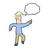 historieta que hace muecas al hombre con la burbuja del pensamiento Imagenes de archivo