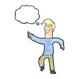 historieta que hace muecas al hombre con la burbuja del pensamiento Fotos de archivo libres de regalías