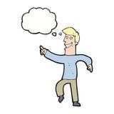 historieta que hace muecas al hombre con la burbuja del pensamiento Fotos de archivo