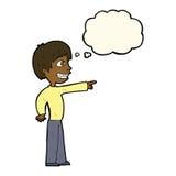 historieta que hace muecas al muchacho que señala con la burbuja del pensamiento Imagen de archivo