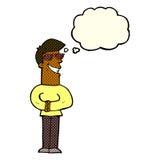 historieta que hace muecas las gafas de sol que llevan del hombre con la burbuja del pensamiento Foto de archivo libre de regalías