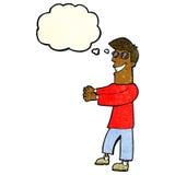 historieta que hace muecas los vidrios que llevan del hombre con la burbuja del pensamiento Fotografía de archivo