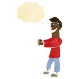 historieta que hace muecas los vidrios que llevan del hombre con la burbuja del pensamiento Fotografía de archivo libre de regalías