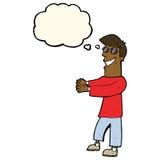 historieta que hace muecas los vidrios que llevan del hombre con la burbuja del pensamiento Imágenes de archivo libres de regalías