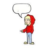 historieta que señala al adolescente con la burbuja del discurso Foto de archivo
