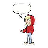historieta que señala al adolescente con la burbuja del discurso Fotografía de archivo