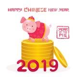 Historieta que se coloca en monedas, Año Nuevo chino 2019 del cerdo foto de archivo libre de regalías