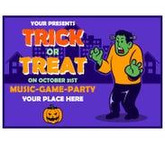 Historieta retra del cartel de Frank Haunting The City Halloween ilustración del vector
