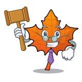 Historieta roja de la mascota de la hoja de arce del juez stock de ilustración