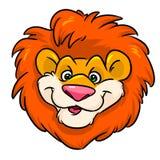 Historieta roja principal divertida del emblema de la melena del león Fotografía de archivo libre de regalías