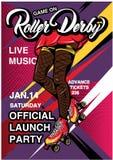 Historieta Rollerscate Derby Advertising Poster Foto de archivo libre de regalías